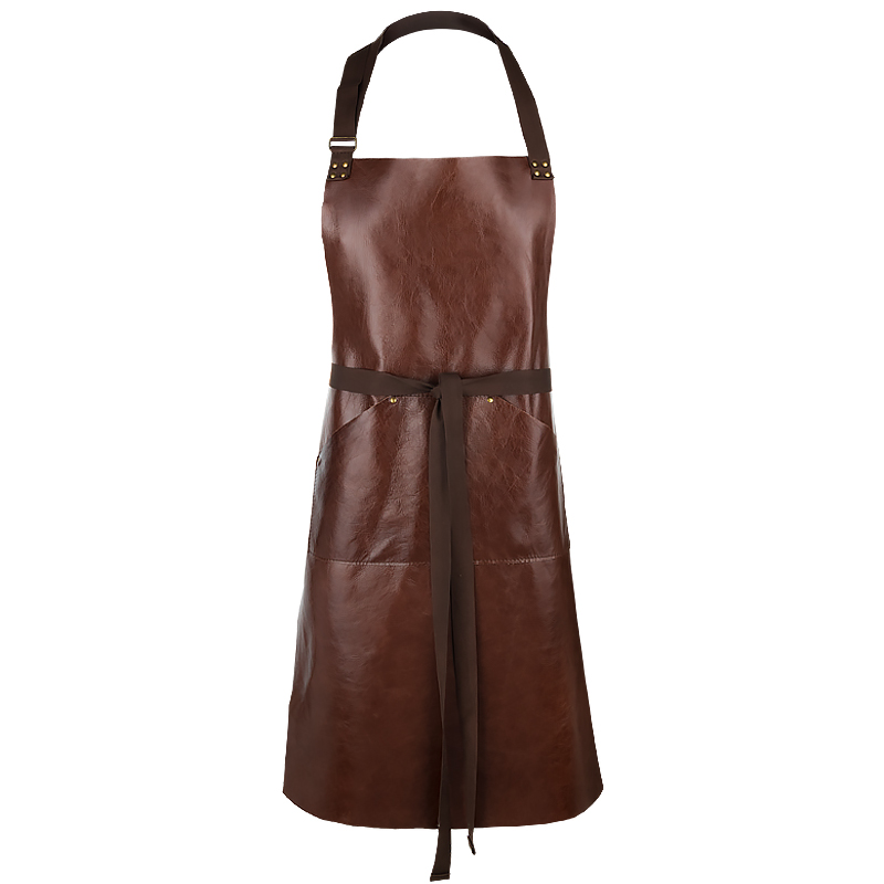Apron Gemeni in Leather, mahogny