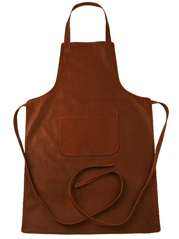Leather apron with long ties