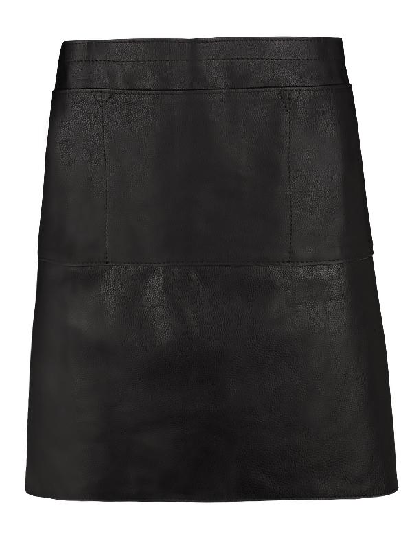 Serving apron in leather, black