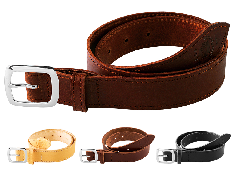 Leather belt C silver