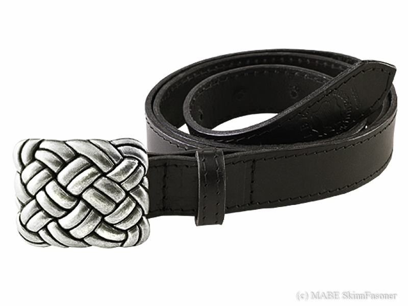 Leather belt R silver