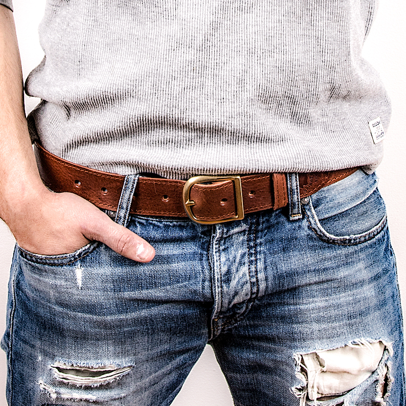 Leather belt A, nickelfri