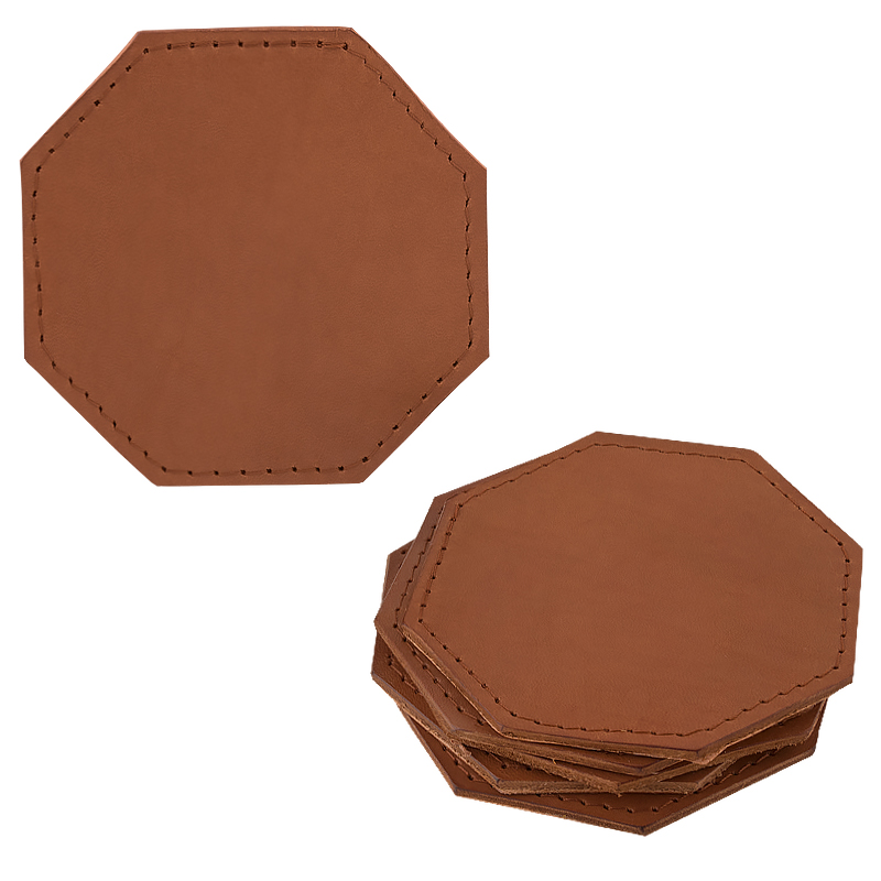 Coasters in leather octagonal cognac