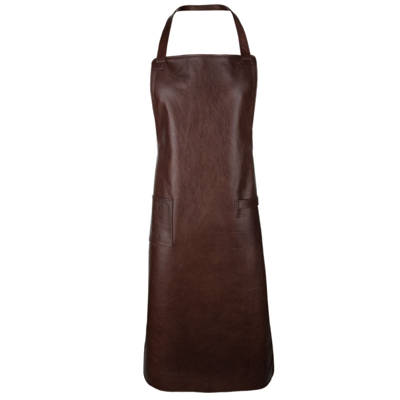 Leather apron Sleifi mahogany leather apron with long straps