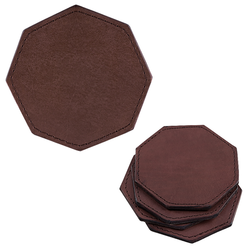 Coasters in leather octagonal darkbrown
