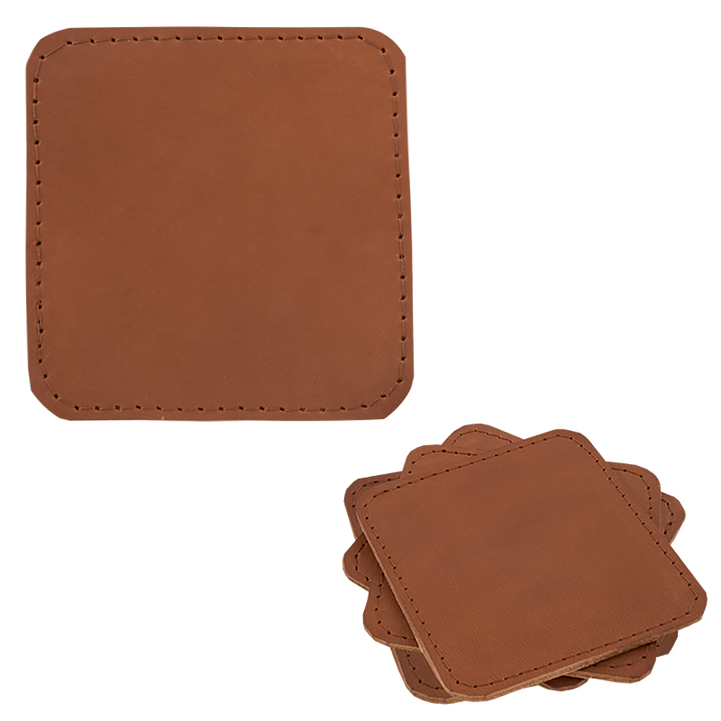 Coasters in leather sqaure cognac