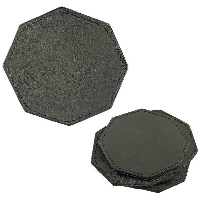 Coasters in leather octagonal green