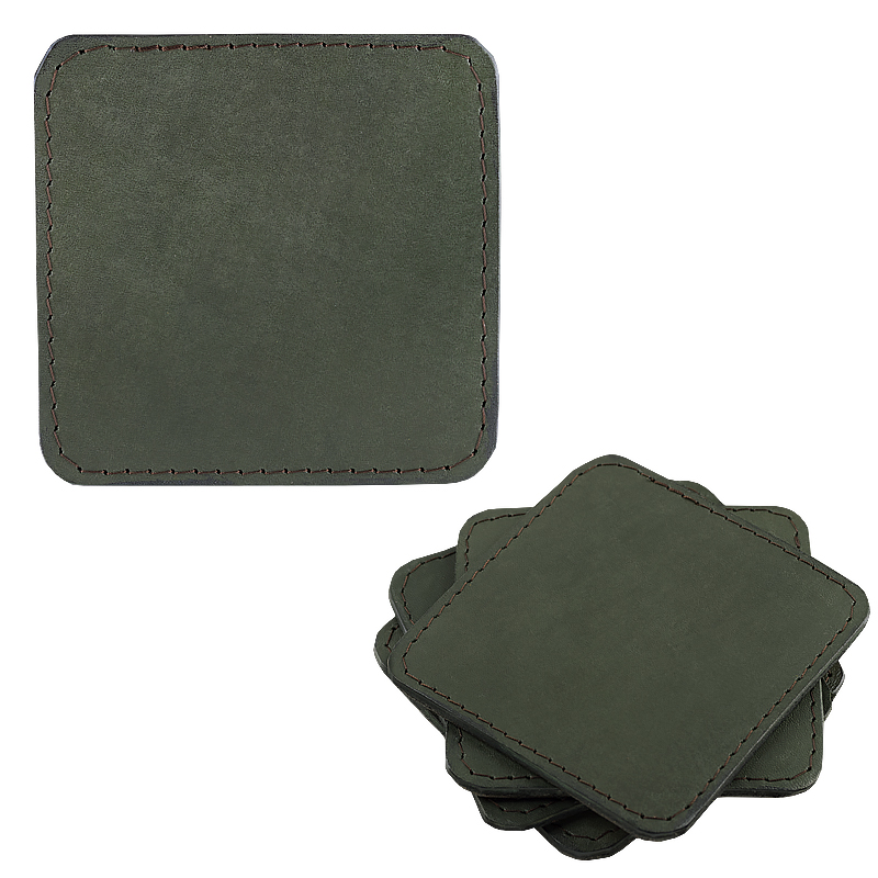Coasters in leather sqaure green