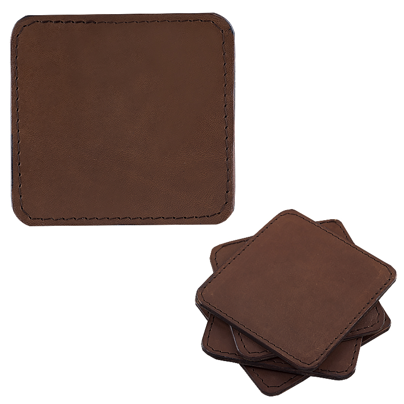 Coasters in leather sqaure dark brown