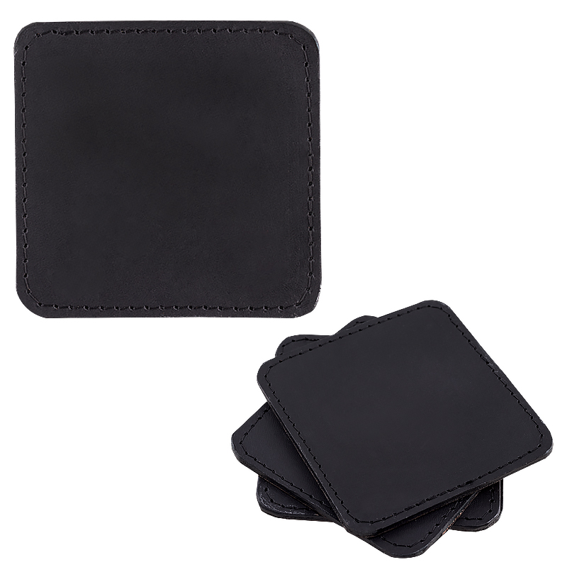 Coasters in leather sqaure svart