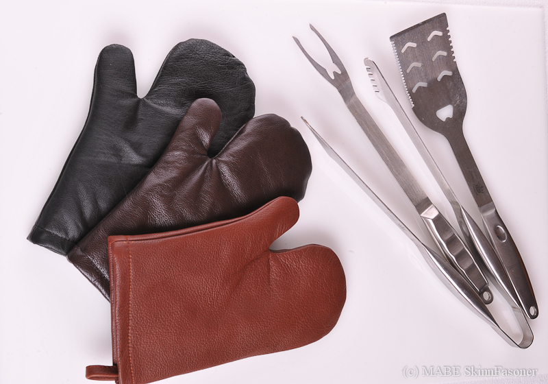 Leather BBQ Mitts, chestlenut