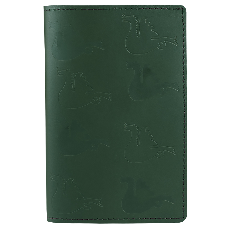 Book cover in leather Dragon green Small