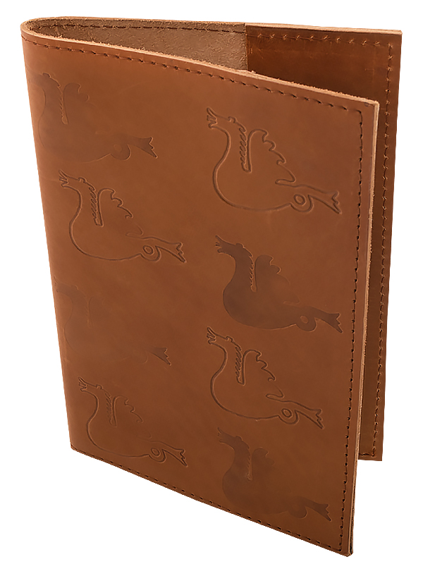 Leather book cover cognac smal