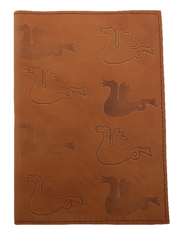 Leather book cover cognac Large