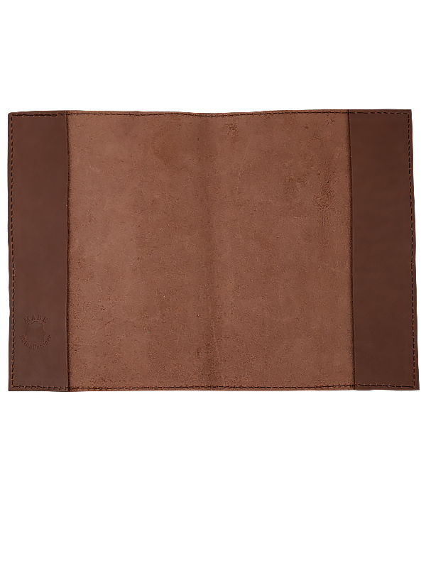 Book cover in leather dark brown Large
