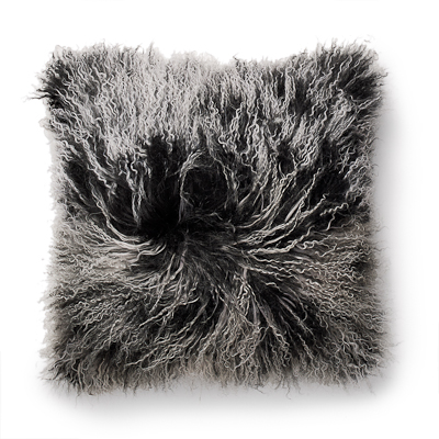 Lambskin pillow, black snowtop