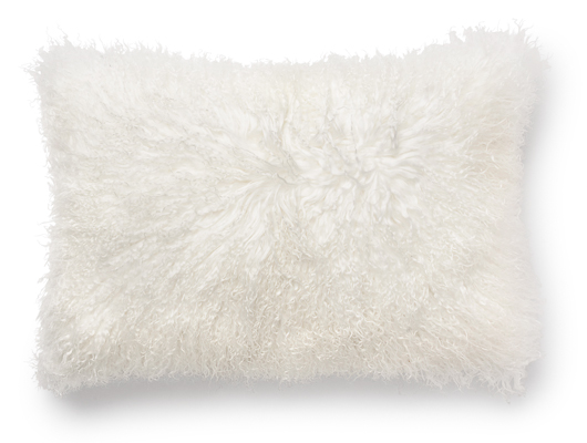 Pillow in curly lamb skin, white