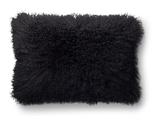 Pillow in curly lamb skin, black