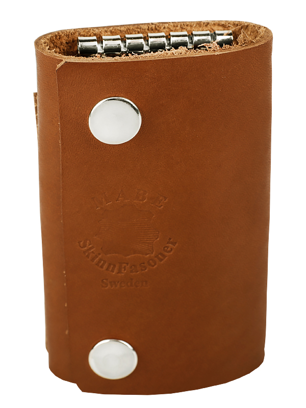 Key holder with compartment cognac