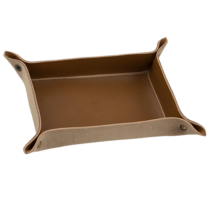 Leather tray Brandy
