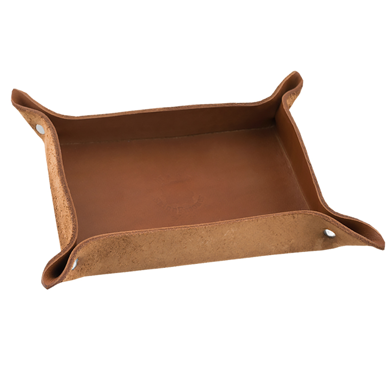 Leather tray Cognac