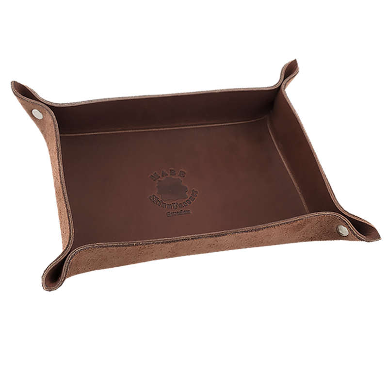 Leather tray Dark brown