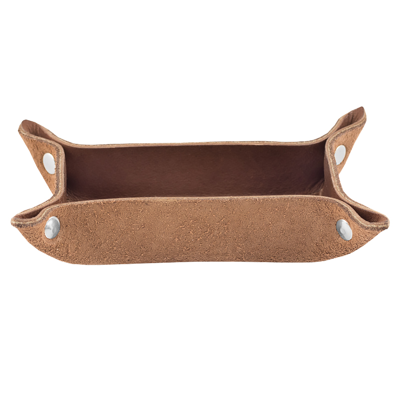 Small leather tray dark brown