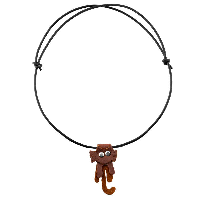 Leather Necklace brown cat
