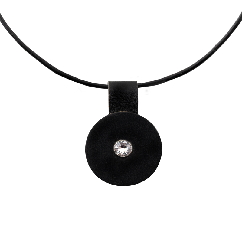 Leather Necklace black round