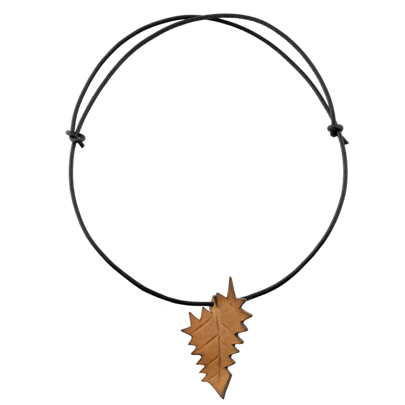 Leather Necklace mustard yellow leaf