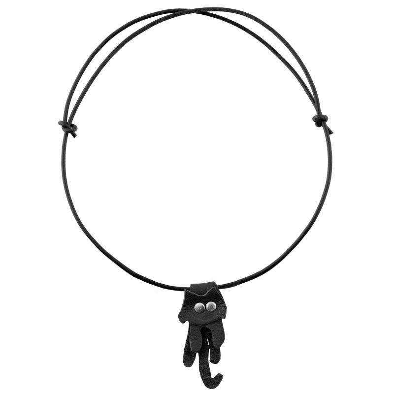 Leather Necklace black cat