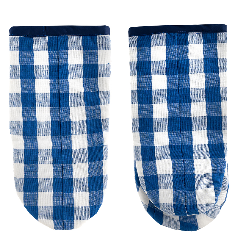 Oven mitt blue checkered