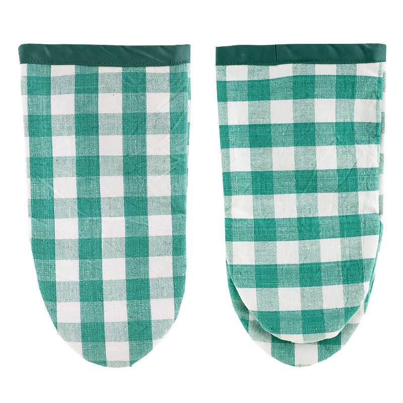 Oven mitt green checkered
