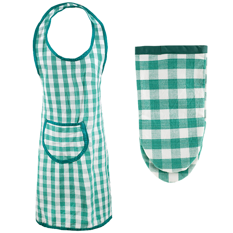 Apron green Checkered + oven mitt