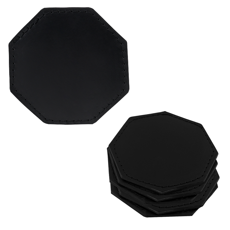 Coasters in leather octagonal black
